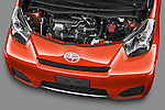High angle engine detail of a  2012 Scion IQ.