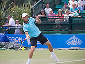 June 14th 2017, Nottingham, England; ATP Aegon Nottingham Open Tennis Tournament day 5;  Dudi Sela of Israel plays as forehand as he wins the first set against Ricardas Berankis of Lithuania
