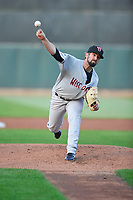 Wisconsin Timber Rattlers starting pitcher Jordan Desguin (28) throws during a game against the Cedar Rapids Kernels at Veterans Memorial Stadium on April 13, 2017 in Cedar Rapids, Iowa.  The Kernels won 2-1.  (Dennis Hubbard/Four Seam Images)