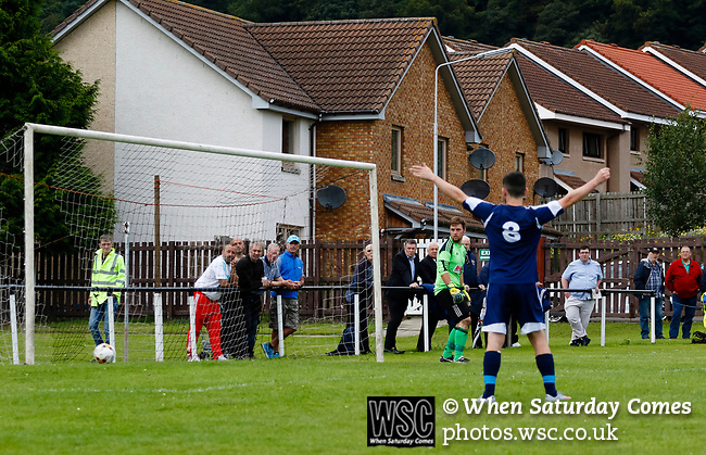 Burntisland Shipyard 0 Colville Park 7, 12/08/2017. The Recreation Ground, Scottish Cup First Preliminary Round. The Colville Park number 8 celebrates a goal. Photo by Paul Thompson.