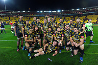 The Hurricanes pose for a team photo after the 2017 DHL Lions Series rugby match between the Hurricanes and British & Irish Lions at Westpac Stadium in Wellington, New Zealand on Tuesday, 27 June 2017. Photo: Dave Lintott / lintottphoto.co.nz
