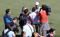 A smiling Rafa Cabrera Bello (Team Europe) secures a half point for Team Europe alongside Sergio Garcia (Team Europe) during the Saturday Morning Foursomes, at the 41st Ryder Cup 2016, at Hazeltine National Golf Club, Minnesota, USA.  01View of the 10th2016. Picture: David Lloyd | Golffile.