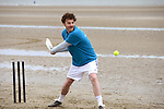 Chris O'Connor in action at the beach cricket festival in Bettystown. Photo: Andy Spearman.