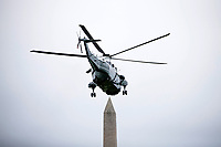 United States President Donald flies aboard Marine One as it takes off from the South Lawn of The White House on May 5, 2018 in Washington, DC. President Trump will travel to Cleveland, Ohio to speak at Public Hall ahead of state primary elections.<br /> Credit: Zach Gibson / Pool via CNP /MediaPunch