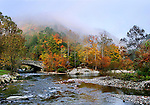 Colorful Fall Foliage And The Fog Descending At The Confluence Of Cedar Creek And Little River During Autumn In The Great Smoky Mountains National Park, Tennessee, USA