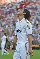 LOS ANGELES, CA – July 16, 2011: Sergio Ramos (4) of Real Madrid during the match between LA Galaxy and Real Madrid at the Los Angeles Memorial Coliseum in Los Angeles, California. Final score Real Madrid 4, LA Galaxy 1.