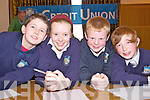 Pupils from Templeglantine N.S. at the Credit Union Quiz on Sunday, from left: Evan Scanlon, Ellen Scanlon, Brian Sheahan and Owen OMahony.