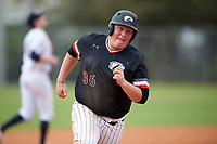 Edgewood College Eagles Nick Lehner (36) running the bases during the first game of a doubleheader against Western Connecticut Colonials on March 13, 2017 at the Lee County Player Development Complex in Fort Myers, Florida.  Edgewood defeated Western Connecticut 3-0.  (Mike Janes/Four Seam Images)