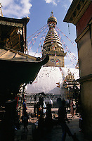 There is evidence that the Swayambhunath Stupa in the hills near Kathmandu was an important Buddhist pilgrimage destination by the 5th century but its origins date back to a much earlier time before Buddhism reached the valley.