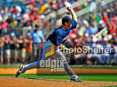 14 March 2009: Boston Red Sox' pitcher Hunter Jones on the mound during a Spring Training game against the Baltimore Orioles at Fort Lauderdale Stadium in Fort Lauderdale, Florida. The Orioles defeated the Red Sox 9-8 in the Grapefruit League matchup. Mandatory Photo Credit: Ed Wolfstein Photo