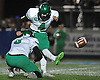 Farmingdale kicker No. 4 Briant DeFelice splits the uprights for a successful PAT attempt during the Nassau County varsity football Conference I final against Oceanside at Hofstra University on Saturday, Nov. 21, 2015. Farmingdale won by a score of 34-23.<br /> <br /> James Escher