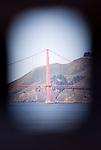 The Golden Gate Bridge as seen from the recreation yard of Alcatraz prison.