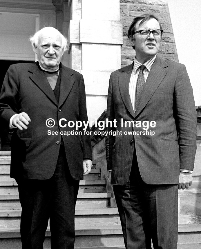 Dr Michael Ramsey, Anglican Archbishop of Canterbury, meets the recently-appointed Secretary of State for N Ireland, Merlyn Rees, at Stormont Castle during a visit to the Province. 197404220214a<br /> <br /> Copyright Image from Victor Patterson, 54 Dorchester Park, Belfast, UK, BT9 6RJ<br /> <br /> t1: +44 28 9066 1296<br /> t2: +44 28 9002 2446<br /> m: +44 7802 353836<br /> <br /> e1: victorpatterson@me.com<br /> e2: victorpatterson@gmail.com<br /> <br /> www.victorpatterson.com<br /> <br /> IMPORTANT: Please see my Terms and Conditions of Use at www.victorpatterson.com