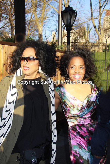 Another World's Rhonda Ross with her mother Diana Ross (of the Supremes) where Rhonda was honored with the Star Leadership Award at the 2012 Skating with the Stars - a benefit gala for Figure Skating in Harlem celebrating 15 years on April 2, 2012 at Central Park's Wollman Rink, New York City, New York.  (Photo by Sue Coflin/Max Photos)