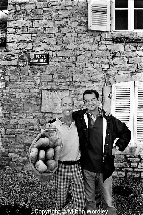 Pascall & Guy with the daily bread at Olivier LeFlaive winery , Puligny- Montrachet