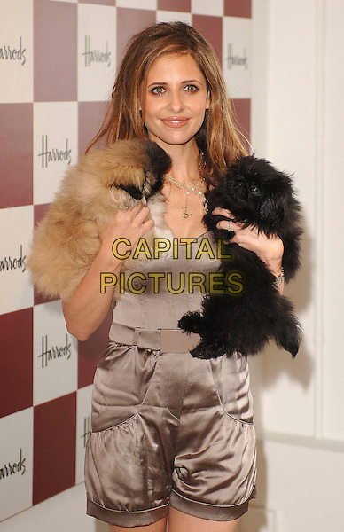 SARAH MICHELLE GELLAR .Opens the Harrods Summer Sale, Knightsbridge, .London, England, 2nd July 2007..half length dogs.CAP/ BEL.©Tom Belcher/Capital Pictures...