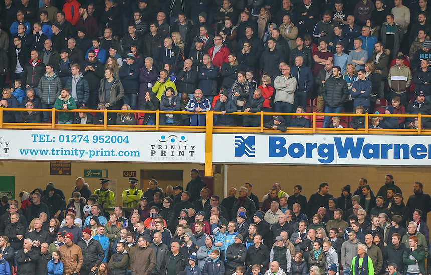 Bolton Wanderers fans watch on during the second half<br /> <br /> Photographer Alex Dodd/CameraSport<br /> <br /> The EFL Sky Bet League One - Bradford City v Bolton Wanderers  - Saturday 18th February 2017 - Coral Windows Stadium - Bradford<br /> <br /> World Copyright &copy; 2017 CameraSport. All rights reserved. 43 Linden Ave. Countesthorpe. Leicester. England. LE8 5PG - Tel: +44 (0) 116 277 4147 - admin@camerasport.com - www.camerasport.com