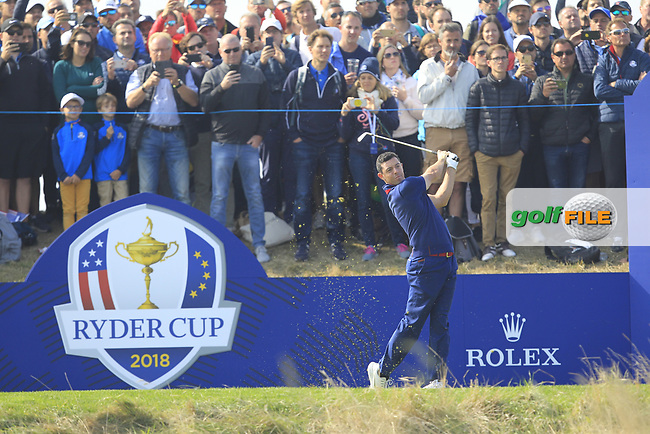 Rory McIlroy (Team Europe) on the 2nd tee during the Friday Foursomes at the Ryder Cup, Le Golf National, Ile-de-France, France. 28/09/2018.<br /> Picture Thos Caffrey / Golffile.ie<br /> <br /> All photo usage must carry mandatory copyright credit (© Golffile | Thos Caffrey)