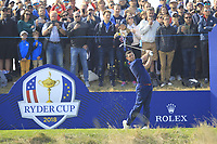 Rory McIlroy (Team Europe) on the 2nd tee during the Friday Foursomes at the Ryder Cup, Le Golf National, Ile-de-France, France. 28/09/2018.<br /> Picture Thos Caffrey / Golffile.ie<br /> <br /> All photo usage must carry mandatory copyright credit (&copy; Golffile | Thos Caffrey)