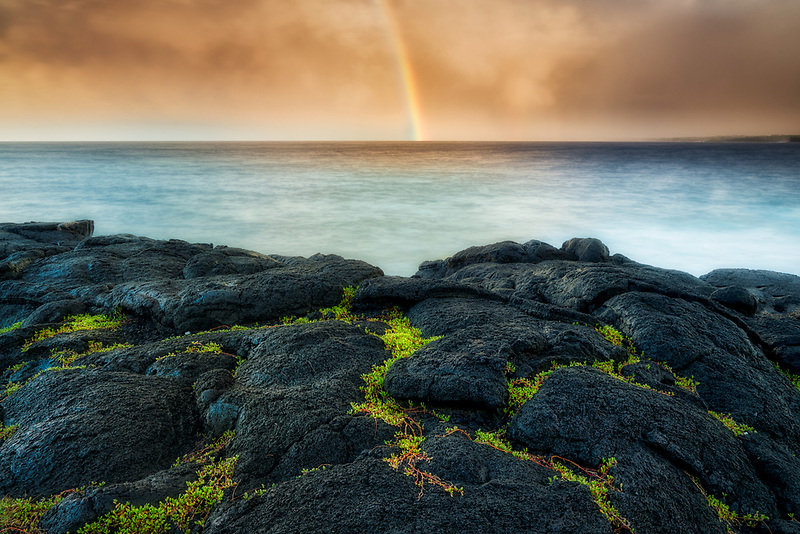 Rainbow and lava roack. Puna District, Hawaii