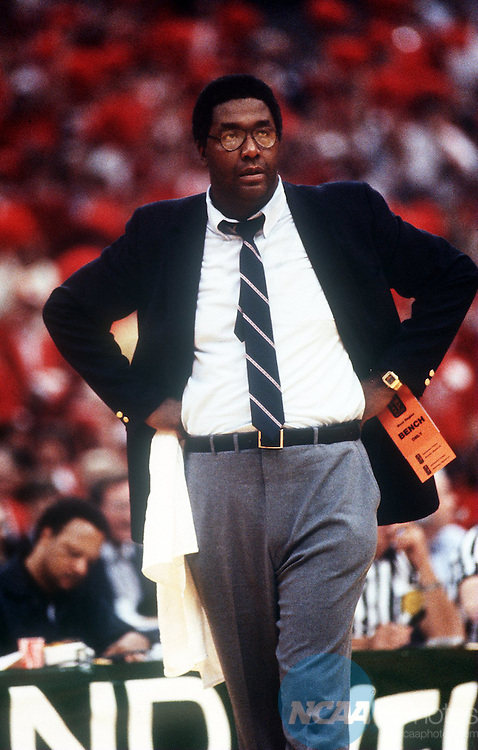 Caption: 29 MAR 1982: Geogetown University coach John Thompson during the NCAA National Basketball semifinal game in New Orleans, LA Superdome. Georgetown defeated Louisville 50-46. Rich Clarkson/NCAA Photos Photographer: Rich Clarkson/NCAA PhotosTitle: M1K82CAN.jpgCity: New OrleansState: LACountry: USADate: 19820329Caption Writer: bgCategory: Sâ?¢