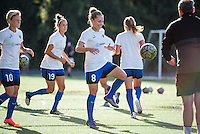 Seattle, Washington - Saturday, July 2nd, 2016: Seattle Reign FC midfielder Kim Little (8) prior to a regular season National Women's Soccer League (NWSL) match between the Seattle Reign FC and the Boston Breakers at Memorial Stadium. Seattle won 2-0.