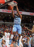 North Carolina forward James Michael McAdoo (43) slams the ball over Virginia forward Akil Mitchell (25) during the first half of an NCAA basketball game Monday Jan. 20, 2014 in Charlottesville, VA. (Photo/Andrew Shurtleff)