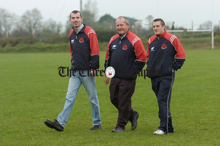 Crusheen GAA club officers Kieran O Donnell,  vice-chairman, John O Malley, chairman and Tony Mc Mahon, secretary. Photograph by John Kelly.