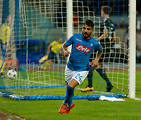 Lorenzo Insigne celebrates after scoring during the Champions League Group  soccer match between SSC Napoli - Manchester City   at the Stadio San Paolo in Naples 01 nov 2017