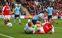 Fleetwood Town's Kyle Dempsey slides in on Accrington Stanley's Connor Ripley<br /> <br /> Photographer Alex Dodd/CameraSport<br /> <br /> The EFL Sky Bet League One - Fleetwood Town v Accrington Stanley - Saturday 15th September 2018  - Highbury Stadium - Fleetwood<br /> <br /> World Copyright &copy; 2018 CameraSport. All rights reserved. 43 Linden Ave. Countesthorpe. Leicester. England. LE8 5PG - Tel: +44 (0) 116 277 4147 - admin@camerasport.com - www.camerasport.com