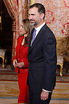 Prince Felipe of Spain and Princess Letizia of Spain during reception at Cervantes Prize for Literature 2013.April 22 ,2013. (ALTERPHOTOS/Acero/Pool)