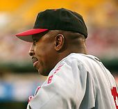 Washington, D.C. - August 11, 2006 -- New York Mets manager Willie Randolph (12) watches third inning action against the Washington Nationals at RFK Stadium in Washington, D.C. on Friday, August 11, 2006.  In honor of Negro Leagues Appreciation Night, the teams are wearing the uniforms of the Homestead Grays (Nationals) and New York Cubans (Mets). <br /> Credit: Ron Sachs / CNP<br /> (RESTRICTION: No New York Metro or other Newspapers within a 75 mile radius of New York City)