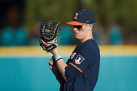 Illinois Fighting Illini first baseman Kellen Sarver (18) on defense against the Coastal Carolina Chanticleers at Springs Brooks Stadium on February 22, 2020 in Conway, South Carolina. The Fighting Illini defeated the Chanticleers 5-2. (Brian Westerholt/Four Seam Images)