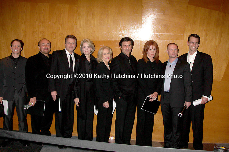 "Gary Clemmer, D. Paul Thomas, Robert Newman, Constance Towers, Maggie Blye, Vincent irizarry, Stefanie Powers, and Adam Mayfield.Soap Fan Mystery Theatre Presents a Staged Reading of Agatha Christie's The ""Unexpected Guest"".Writers Guild of America Theater.Beverly Hills, CA.February 20, 2010.©2010 Kathy Hutchins / Hutchins Photo...."