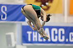 19 February 2016: Notre Dame's Emma Gaboury competes in the Women's 3 Meter Diving preliminaries. The 2016 Atlantic Coast Conference Swimming and Diving Championships were held at the Greensboro Aquatic Center in Greensboro, North Carolina from February 17-27, 2016.