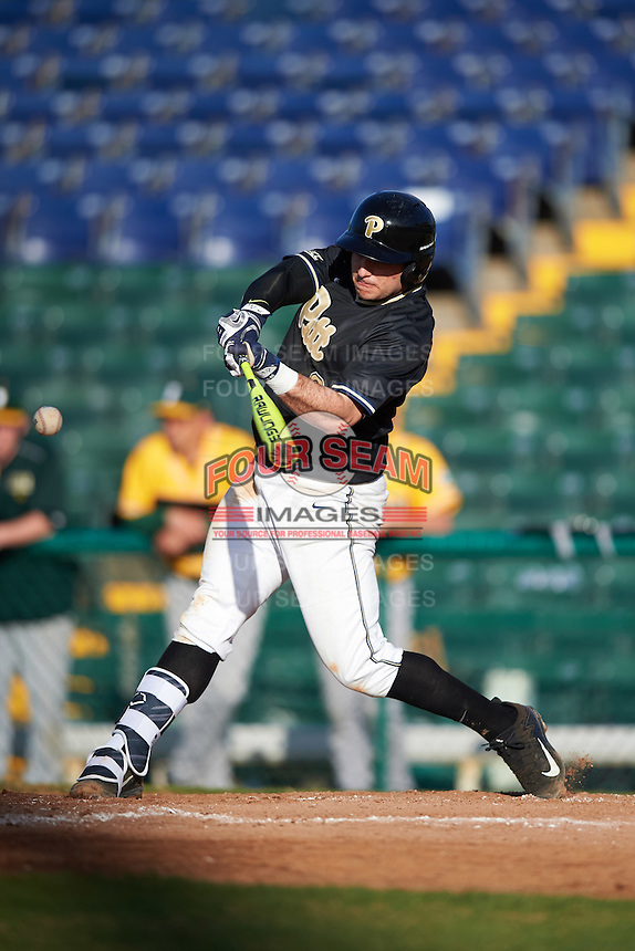 Pittsburgh Panthers shortstop David Yanni (24) at bat during a game against the Siena Saints on February 24, 2017 at Historic Dodgertown in Vero Beach, Florida.  Pittsburgh defeated Siena 8-2.  (Mike Janes/Four Seam Images)