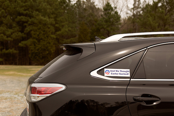 April 6, 2014. Durham, North Carolina.<br />  A bumper sticker expresses some of the common feelings at a Durham County republican campaign event.<br /> As the the primary scheduled for May 6th grows near, several of the the eight Republican candidates running for the US Senate seat of incumbent Democrat Kay Hagan have increased their public visibility, appearing at events such as the Durham County Lincoln Douglas Lunch, where each candidate was given a few minutes to address the gathered Republican friendly crowd.