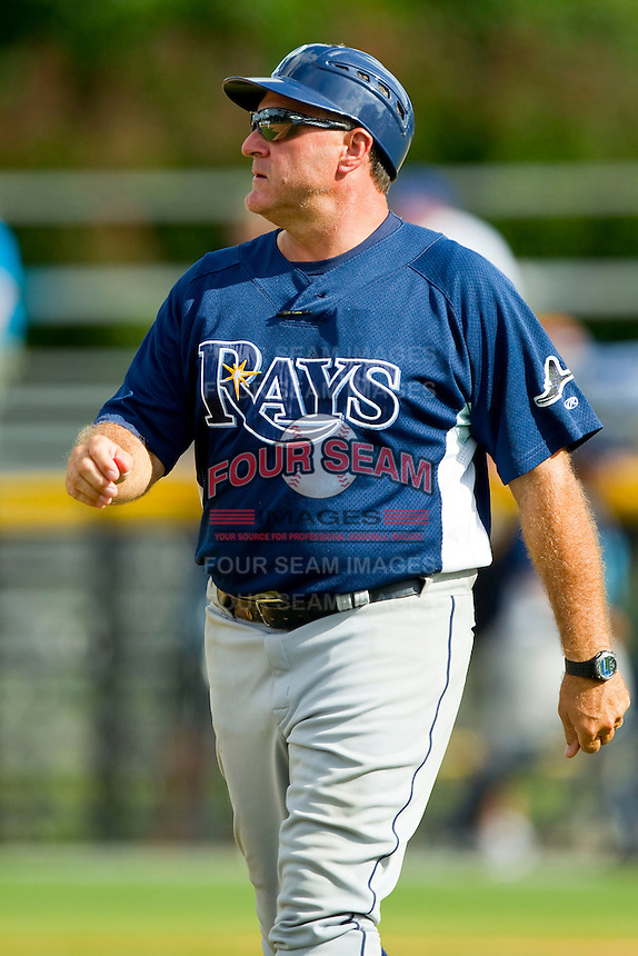 Princeton Rays manager Danny Scheaffer (30) coaches third base during the Appalachian League game against the Burlington Royals at Burlington Athletic Park on July 5, 2013 in Burlington, North Carolina.  The Royals defeated the Rays 5-1 in game one of a doubleheader.  (Brian Westerholt/Four Seam Images)