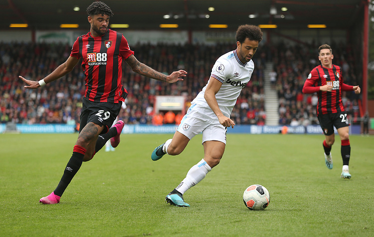 West Ham United's Felipe Anderson and Bournemouth's Philip Billing<br /> <br /> Photographer Rob Newell/CameraSport<br /> <br /> The Premier League - Bournemouth v West Ham United - Saturday 28th September 2019 - Vitality Stadium - Bournemouth<br /> <br /> World Copyright © 2019 CameraSport. All rights reserved. 43 Linden Ave. Countesthorpe. Leicester. England. LE8 5PG - Tel: +44 (0) 116 277 4147 - admin@camerasport.com - www.camerasport.com