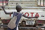 A boy traces letters on a truck at the Loreto Primary School in Rumbek, South Sudan. The Loreto Sisters began a secondary school for girls in 2008, with students from throughout the country, but soon after added a primary in response to local community demands.