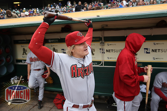OAKLAND, CA - MAY 23:  Eric Byrnes #22 of the Arizona Diamondbacks gets ready in the dugout before the game against the Oakland Athletics at Oakland-Alameda County Coliseum on May 23, 2009 in Oakland, California. Photo by Brad Mangin