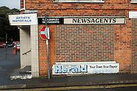 Bricked up newsagents shop, Romney Marsh, Kent.