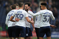 Greg Cunningham (center) of Preston North End is congratulated by teammates after scoring the equaliser during Preston North End vs Hull City, Sky Bet EFL Championship Football at Deepdale on 3rd February 2018