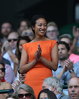 Former British tennis player Anne Keothavong in the Royal box on Centre Court <br /> <br /> Photographer Rob Newell/CameraSport<br /> <br /> Wimbledon Lawn Tennis Championships - Day 6 - Saturday 7th July 2018 -  All England Lawn Tennis and Croquet Club - Wimbledon - London - England<br /> <br /> World Copyright &not;&copy; 2017 CameraSport. All rights reserved. 43 Linden Ave. Countesthorpe. Leicester. England. LE8 5PG - Tel: +44 (0) 116 277 4147 - admin@camerasport.com - www.camerasport.com