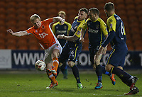 Blackpool's Mark Cullen shields the ball from Stevenage's Jack King and Charlie Lee<br /> <br /> Photographer Alex Dodd/CameraSport<br /> <br /> The EFL Sky Bet League Two - Blackpool v Stevenage - Tuesday 14th March 2017 - Bloomfield Road - Blackpool<br /> <br /> World Copyright &copy; 2017 CameraSport. All rights reserved. 43 Linden Ave. Countesthorpe. Leicester. England. LE8 5PG - Tel: +44 (0) 116 277 4147 - admin@camerasport.com - www.camerasport.com