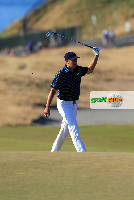 Jordan Speith (USA) reacts to his chip onto the 16th green during Sunday's Final Round of the 2015 U.S. Open 115th National Championship held at Chambers Bay, Seattle, Washington, USA. 6/22/2015.<br /> Picture: Golffile | Eoin Clarke<br /> <br /> <br /> <br /> <br /> All photo usage must carry mandatory copyright credit (&copy; Golffile | Eoin Clarke)