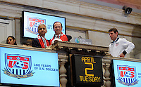 U.S. Soccer president Sunil Gulati and New York Red Bulls General Manager Jerome de Bontin pose for a phot during the centennial celebration of U. S. Soccer at the New York Stock Exchange in New York, NY, on April 02, 2013.