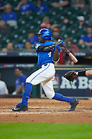 Zeke Lewis (4) of the Kentucky Wildcats follows through on his swing against the Louisiana Ragin' Cajuns in game seven of the 2018 Shriners Hospitals for Children College Classic at Minute Maid Park on March 4, 2018 in Houston, Texas.  The Wildcats defeated the Ragin' Cajuns 10-4. (Brian Westerholt/Four Seam Images)