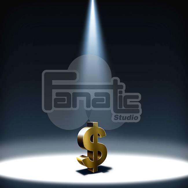Illustrative image of spot light on dollar sign representing hope