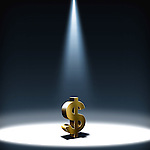 Illustrative image of spot light on dollar sign representing hope